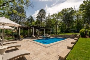 Franklin, pools, construction, Middle TN, hot tub, pergola, stone fireplace, outdoor fireplace,