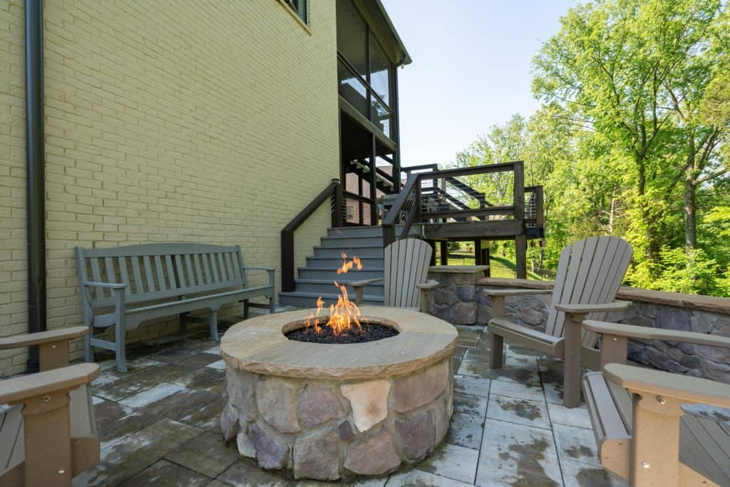 Franklin Stone outdoor patio with stone fireplace