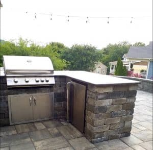 Stone grill. patio. outside kitchen, franklin stone, franklin, patios pools and construction