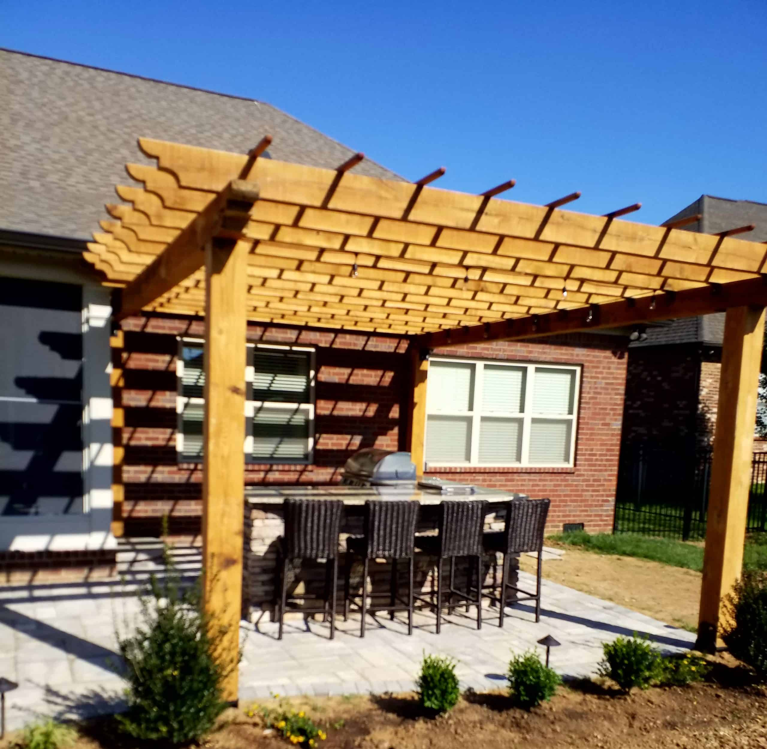 Franklin Stone - pergola -backyard - wood - patio
