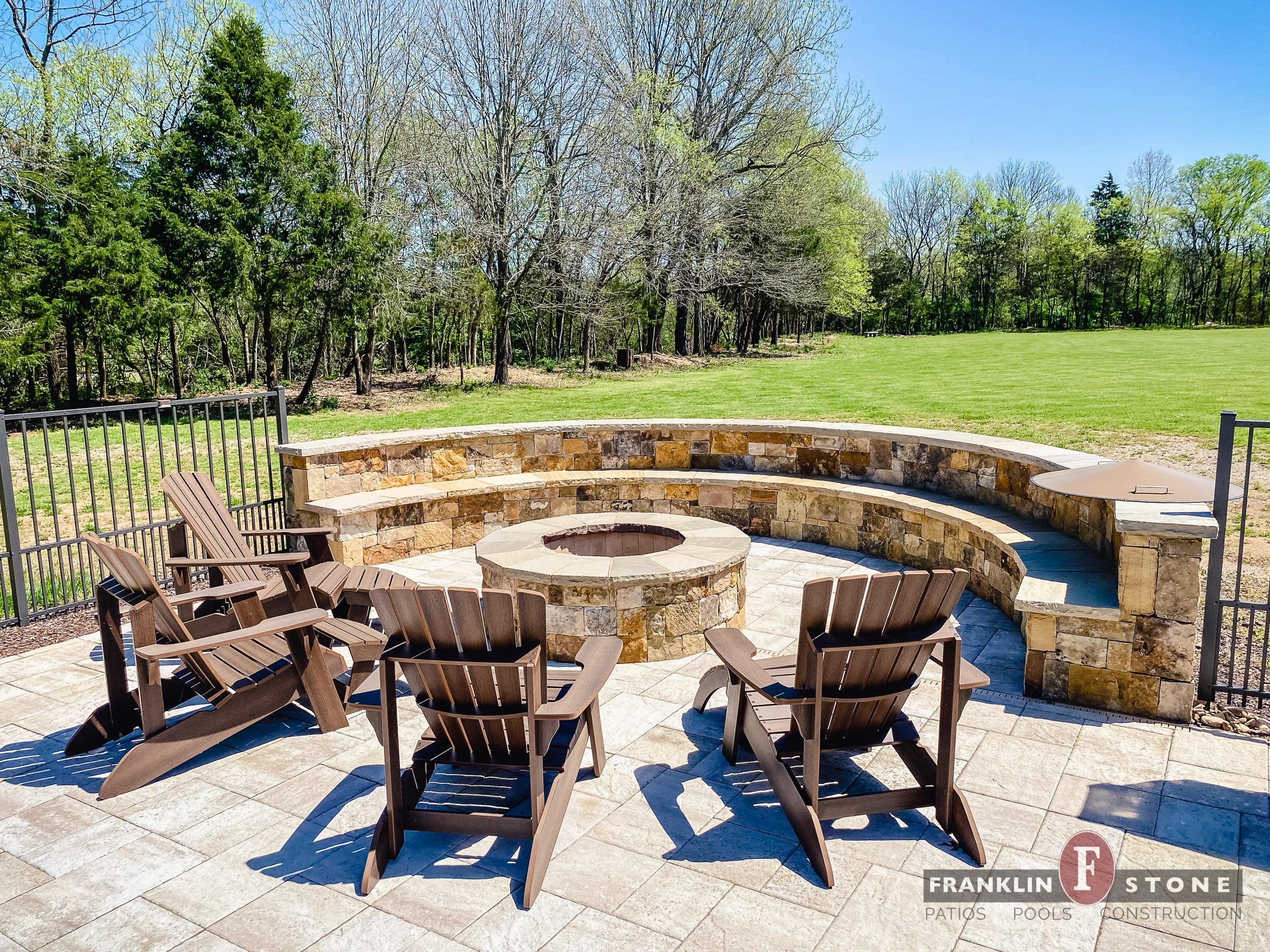 Franklin Stone outdoor firepit and chairs