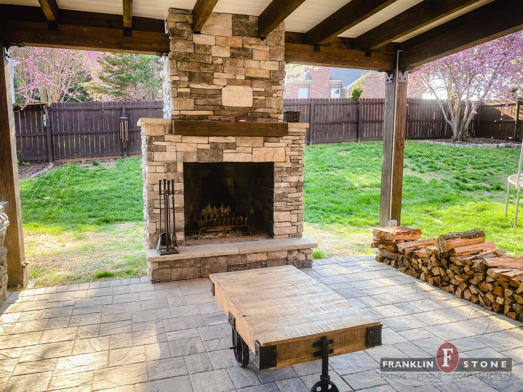 Franklin Stone outdoor stone fireplace