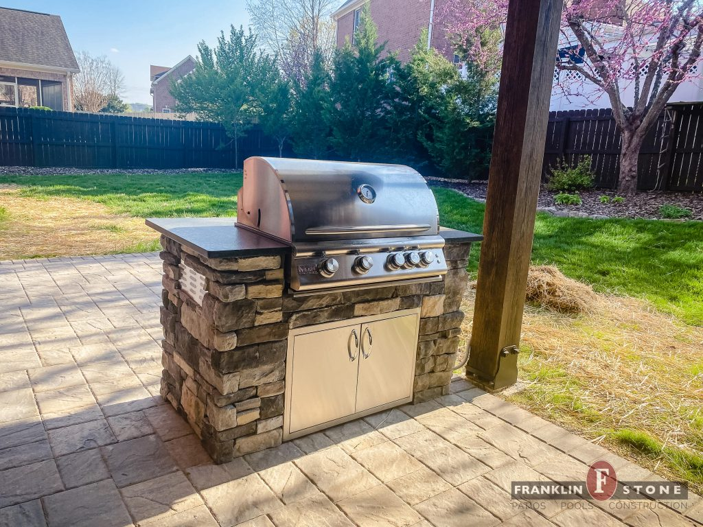 Franklin Stone outdoor kitchen with stone grill