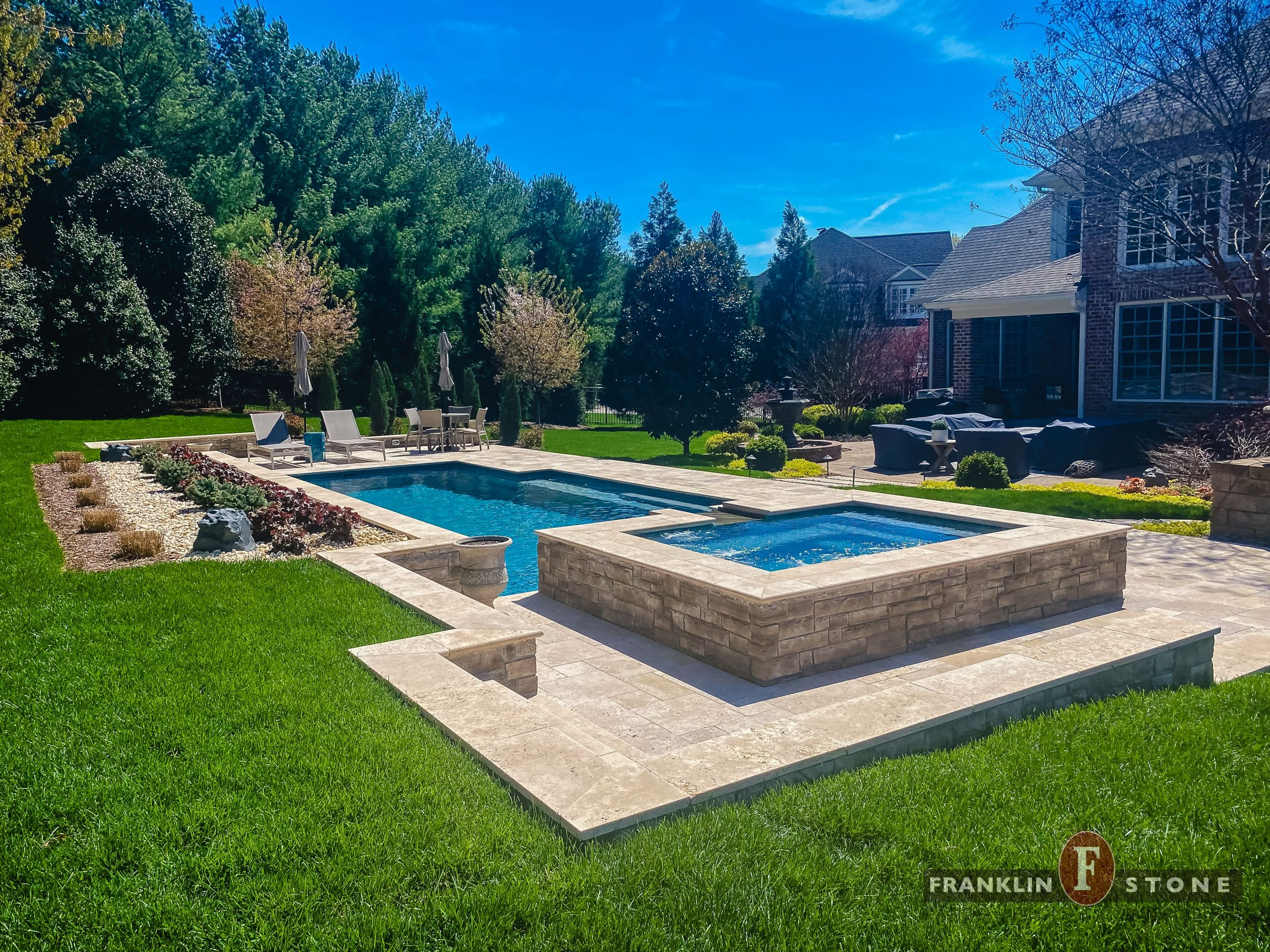 Franklin Stone pool and stone spa