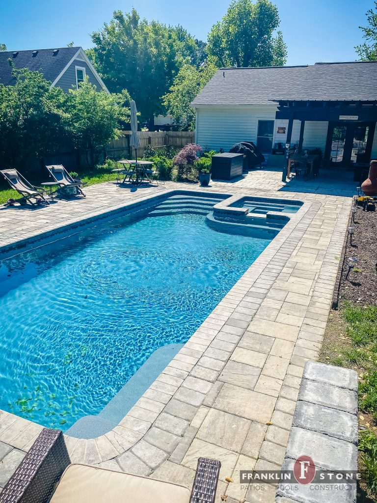 Franklin Stone pool and spa with outdoor patio furniture